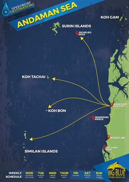 Similan Islands Diving Day Trip Map