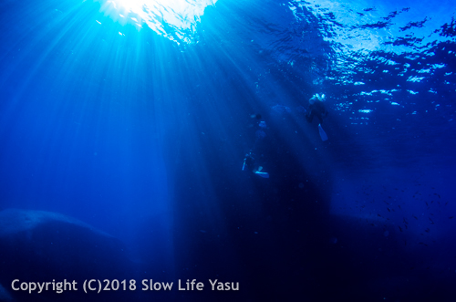 Sunlight and blue water at Elephant Head Rock Similan islands liveaboard