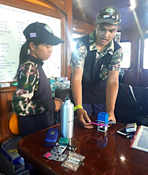 Similan national park officers planning sea fan restoration on the MV Hallelujah Similan Liveaboard