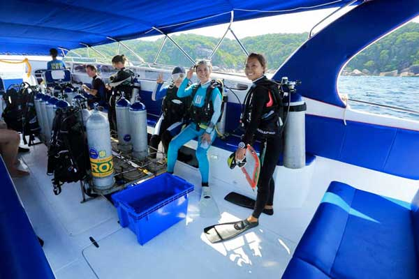 Inside Blue Dolphin Similan Islands Diving Speedboat by Big Blue