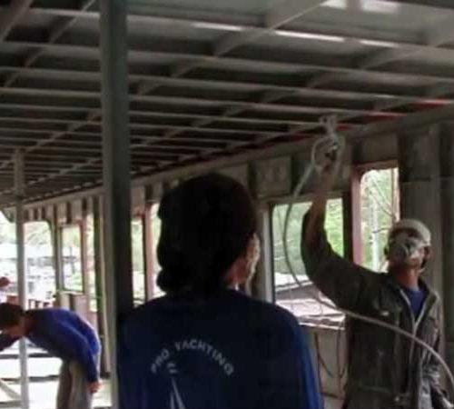 Working on MV Hallelujah Liveaboard ceiling