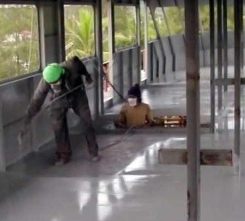 Spraying the MV Hallelujah Liveaboard interior